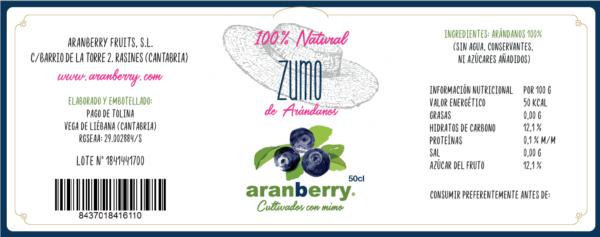 Etiqueta de zumo de Arándanos 100%